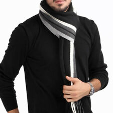 UN3F Han Edition Tassel Man With Thick Color Matching Striped Scarf