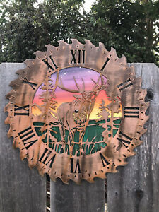 Elk Metal Art Saw Blade clock Rustic  Copper Hunting Circular Saw