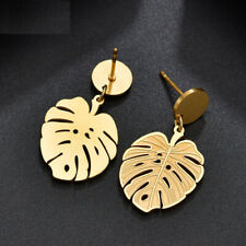 Fashion Hollow Stainless Steel 18K Gold Plated Leaf Drop Dangle Earrings Jewelry