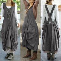 UK New Womens Sleeveless Suspender Vest Tank Dresses Dungaree Dress Plus Size