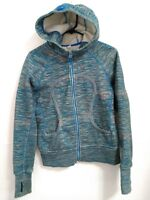 Women's Small Lululemon Athletica Blue Gray Fleece Lined Zip Hoodie Sweatshirt
