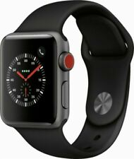 Apple Watch Series 3 38mm Space Gray Aluminum Case Black Sport Band Cellular