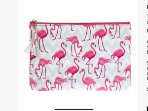 Flamingo bay clutch bag make up wash bag handbag ladies girls present gift
