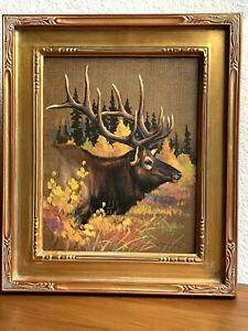 """Elmer Sprunger (1919-2007) Kalispell Montana original oil """"Mission Range Elk"""""""