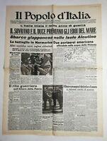 N843 La Une Du Journal Il popolo d'Italia 11 giugno 1942 Battaglia in marmarica