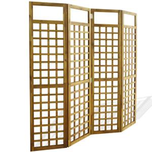 vidaXL Solid Acacia Wood 4-Panel Room Divider Trellis Privacy Screen Garden
