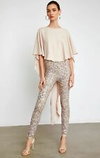 NWT BCBG BCBGMAXAZARIA HIGH-LOW SEQUIN CAPLET JUMPSUIT S SMALL   SFS