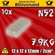 10x Neodym Magnet 12x12x12mm N52 7,9Kg - Zugkraft Industrie Permanent Würfel