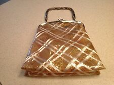 Vintage 1940's Metallic Thread Vinyl See Through PUrse/Bag Lucite Handle NICE