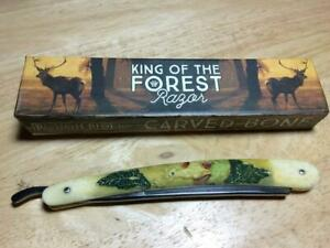 """Rough Rider King of Forest Whitetail Carved Bone 6 1/4"""" Straight Razor RR1558"""