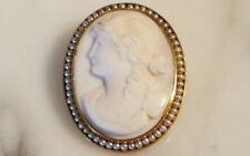 Antique Hand Carved Shell Cameo Surrounded by Seed Pearls 10k Pin Pendant