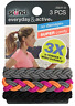 Scunci Everyday and Active 3-Strand Braided Elastics,No Damage,(Assorted Colors)