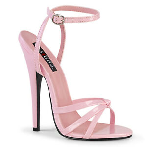 """Devious DOMINA-108 Baby Pink Patent 6"""" Wrap Around Knotted Strap Sandal"""