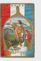 PPC POSTCARD THANKSGIVING GREETINGS TURKEY PATRIOTIC PILGRIMS WISHBONE EMBOSSED