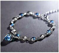 Silber Kette Armband Armkette Mode schmuck Liebe Frauen edel Geschenk Herz Damen
