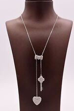Heart Key Bow Tie Charm CZ Drop Necklace Pendant Chain Real Sterling Silver 925