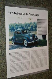 ★★1935 DESOTO SG AIRFLOW COUPE INFO SPEC SHEET PHOTO FEATURE PRINT 35★★
