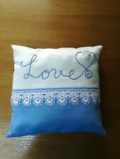 "Handmade 9"" White Sparkle Blue Satin Ring Pillow Lace Embroidered Love Wedding"