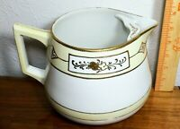 Antique NIPPON T-OH Hand Painted Water PITCHER w/Ice Lip  White Ivory Gold Leaf