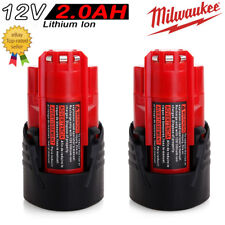2x 2.0AH 12V Li-ion Battery For Milwaukee M12 M12B2 C12B 48-11-2401 48-11-2411
