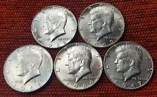 1965-1966-1967-1968-1969 5x Kennedy Half Dollar EF Coins 40% Silver US Mint Lot1