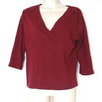 Cato V-Neck Stretch Knit Top Shirt Women Size M Burgundy Red Cotton Blend
