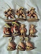 "Wholesale Lot 10 Italian Anri Hand Made 3"" Wood Beatrix Potter Figurines Statues"