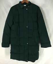 Talbots Down Filled Quilted Puffer Green Long Winter Coat Womens Size Small S