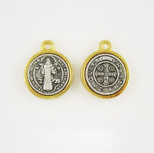 Pack of 100 Gold and Antique Silver Medalla De San Benito Saint Benedict Medal