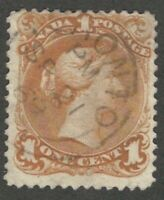 Canada, 1868, 1c Yellow-Orange, Large Queen, Scott #23, Used, Fine