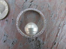 14KT White Gold & Paspaley South Sea Pearl Diamond Pendant Circle NEW
