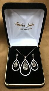 14K Rose Gold with Champagne & White Diamonds Pendant & Earring Set