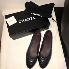 CHANEL BLACK LEATHER QUILTED BALLET FLATS, SIZE 38 WITH BOX AND DUST BAG
