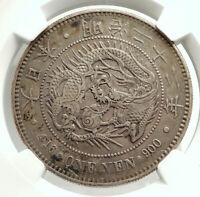 1889 JAPAN Genuine Silver Antique Japanese Yen MUTSUHITO DRAGON Coin NGC i76572