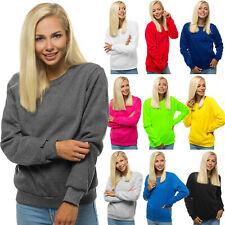 Sweatshirt Langarmshirt Pullover Pulli Basic Unifarben Classic Damen OZONEE W01Z