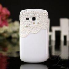 Samsung GALAXY s3 MINI i8190 Hard Case Cellulare Guscio Protettivo Astuccio Perline Bianco 3d