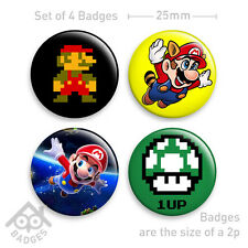 "Super Mario Bros 1 UP 64 Wii World SNES Mushroom-1"" Badge x4 Badges NEW - Set 2"