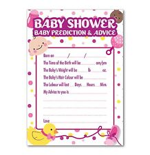 Baby Shower Prediction & Advice Games - Pack of 16 A6 Cards - Purple Dots Theme