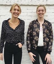 New! Brandy Melville black/white silky star button up blouse top NWT sz S/M
