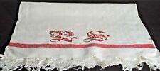 Antique LINEN DAMASK TOWEL with Large REDWORK Monogram VV151