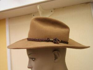 Teens Light Brown Pure Fur Felt & Leather Cowboy /Fedora Hat - XS 52cm