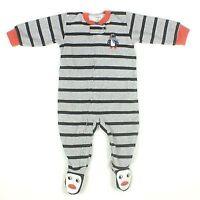 NWT CARTER'S BOY'S GRAY/BLACK STRIPE PENQUIN FLEECE SLEEPER  SIZE: KIDS 4