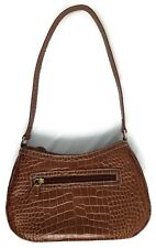 Liz Claiborne Faux Alligator Leather Baguette Handbag Ombre Brown Shoulder Bag