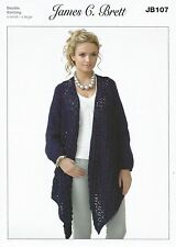 James C Brett DK KNITTING PATTERN - Ladies Waterfall Cardigan - JB 107