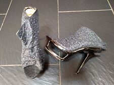 BOOTMAKER GREY ANIMAL PRINT DIAMANTE HIGH CUT OUT HEEL WEDGE SHOES SIZE 6 EUR 39