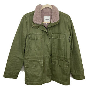 Madewell Womens Small Sherpa-Trimmed Surplus Jacket Army Green Pink Faux Fur