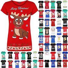 Womens Ladies Xmas Reindeer Wall Snowfall Jersey Stretch Christmas T Shirt Top