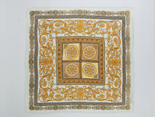 "Large Square Silk Scarf 36x36"" (90x90cm) White and Gold Theme SZD011"