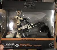 Star Wars Black Series Imperial Scout Trooper Speeder Bike + Child Mandalorian