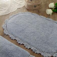 Tappeto bagno Ovale Shabby chic Bordo Crochet Colore Azzurro 58 x 85